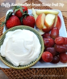 Two seemingly incompatible ingredients combine to make the most divine fruit dip ever. Fluffy Marshmallow Cream Cheese Fruit Dip | A Reinvented Mom