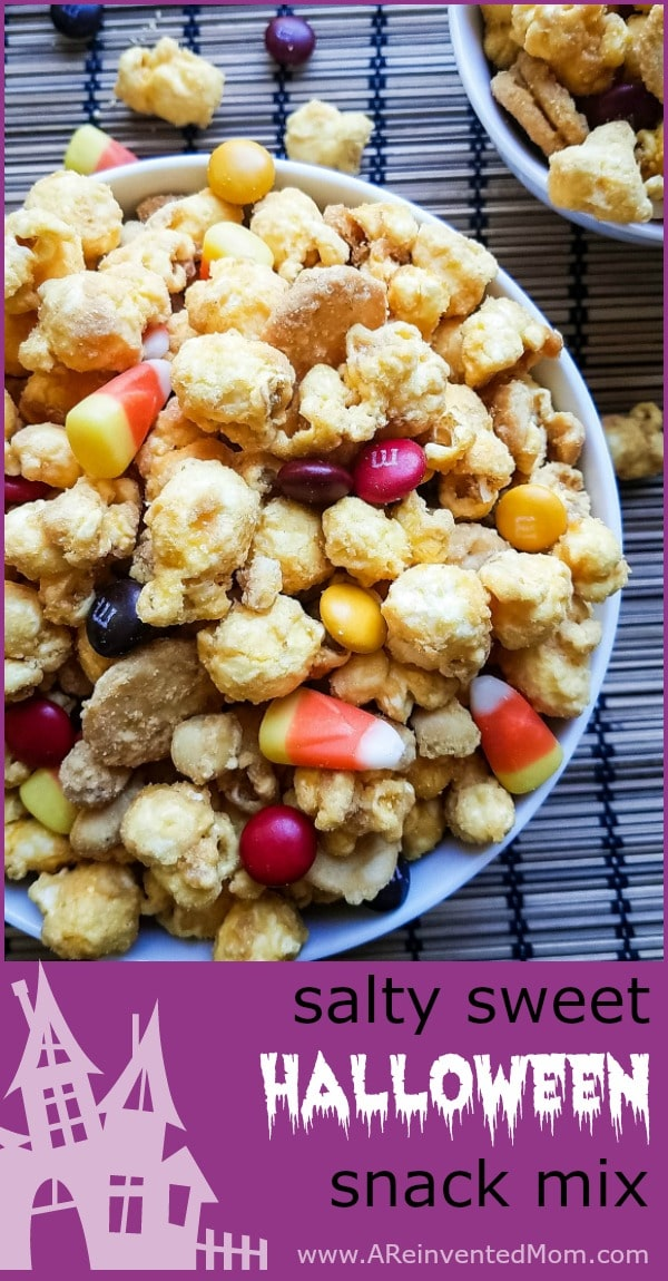 Salty Sweet Halloween Snack Mix Pin | A Reinvented Mom