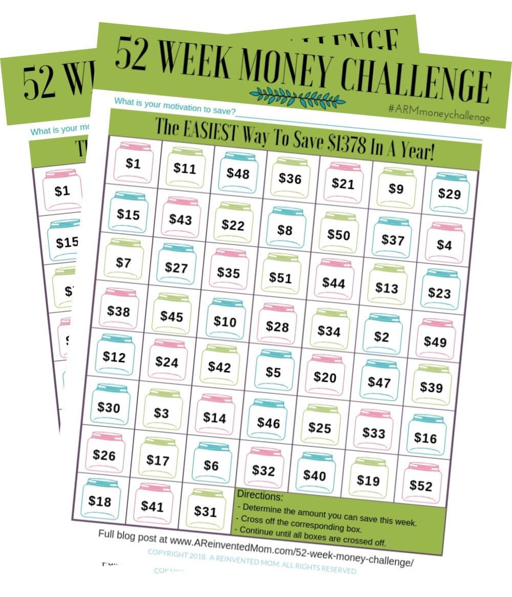 52 Week Money Challenge Worsheet 2Pics | A Reinvented Mom #52weekmoneychallenge