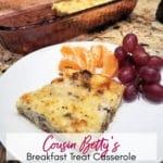 Slice of Cousin Betty's Easy Overnight Breakfast Treat Casserole   A Reinvented Mom #overnightbreakfastcasserole