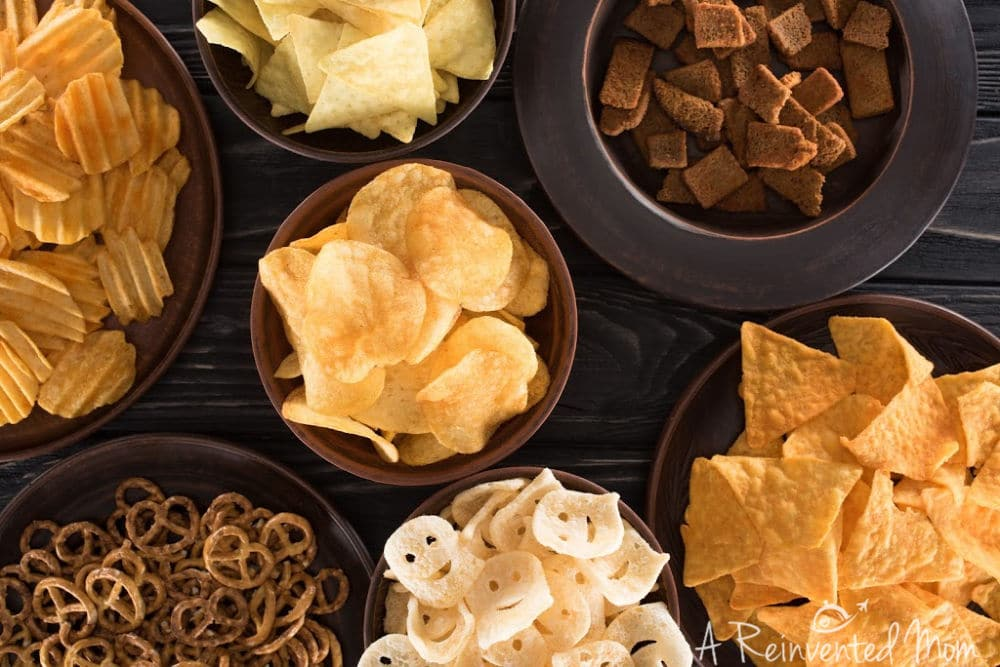 Using Leftover Party Food Bowls of Chips   A Reinvented Mom #partyleftovers #leftoverpartyfood